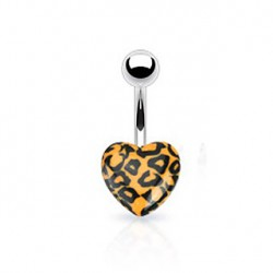 Piercing nombril coeur léopard orange Kuz