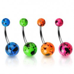Lot 4 piercings nombril boules fluo tachetées