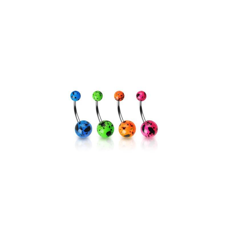 Lot 4 piercings nombril boules fluo tachetées Piercing nombril4,20€