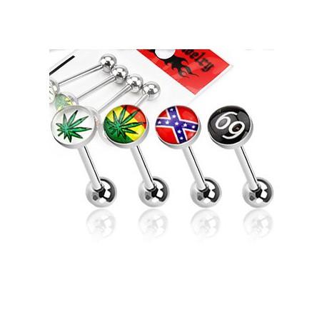 Lot piercings langue feuille de cannabis Wut LAN117