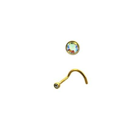 Piercing nez coudé doré cristal aurore boréale Piercing nez2,80€