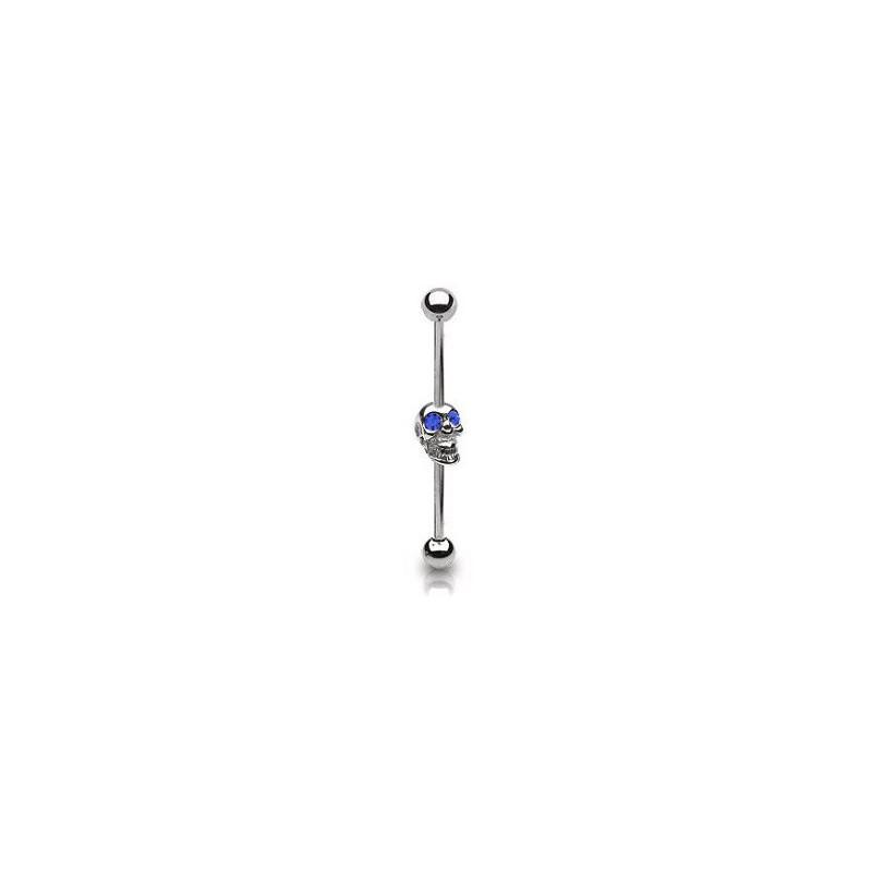 Piercing industriel 38mm tête de mort bleu saphir Rix Piercing oreille6,60€