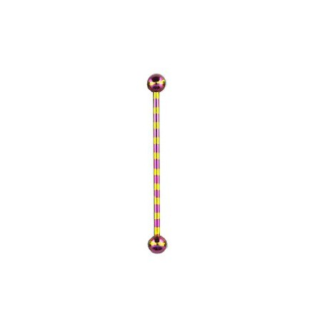 Piercing industriel zébré jaune violet 38mm Bazux Piercing oreille5,60€