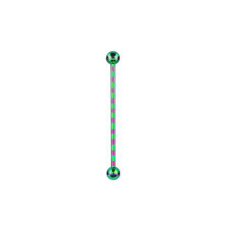 Piercing industriel 38mm zébré vert et violet zébré Rix IND026