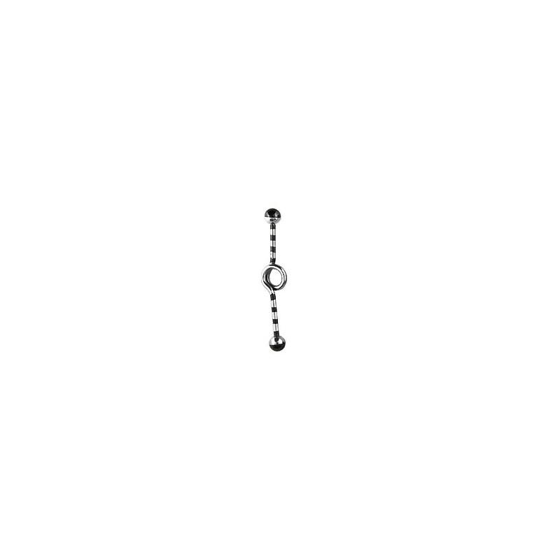 Piercing industriel noir loop zébré 35mm Docux Piercing oreille6,60€