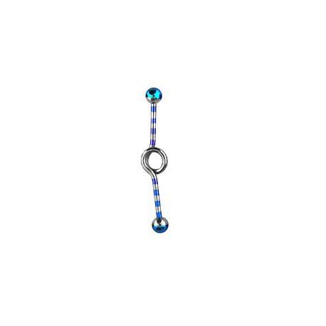 Piercing industriel bleu clair loop zébré 35mm IND035