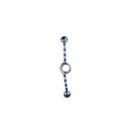 Piercing industriel bleu loop zébré 35mm Faz Piercing oreille6,60€