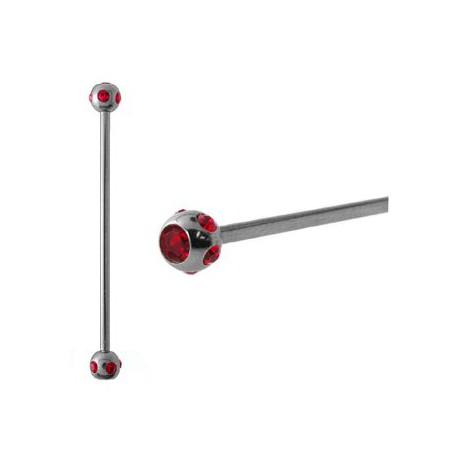 Piercing industriel cristal rouge 38mm Rac IND057