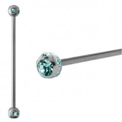 Piercing industriel cristal bleu aqua 38mm IND057