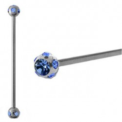 Piercing industriel cristal bleu saphir 38mm IND057