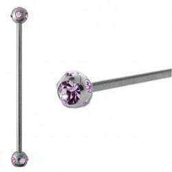 Piercing industriel cristal améthyste 38mm