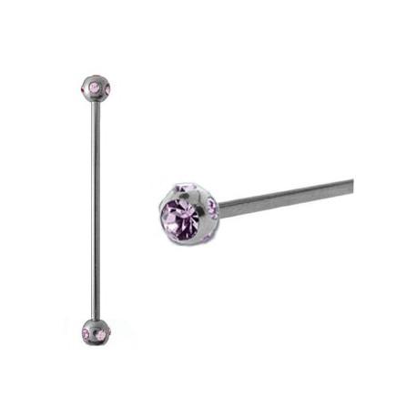 Piercing industriel cristal améthyste 38mm IND057
