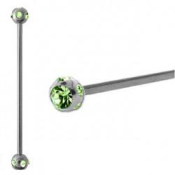Piercing industriel cristal vert péridot 38mm