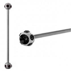 Piercing industriel cristal noir 38mm Gar IND057