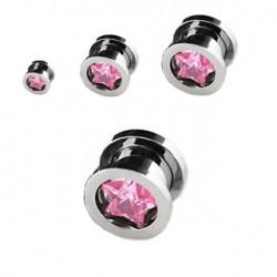 Piercing tunnel étoile rose 4mm Nue