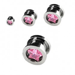Piercing tunnel étoile zirconium rose 8mm Jya PLU066