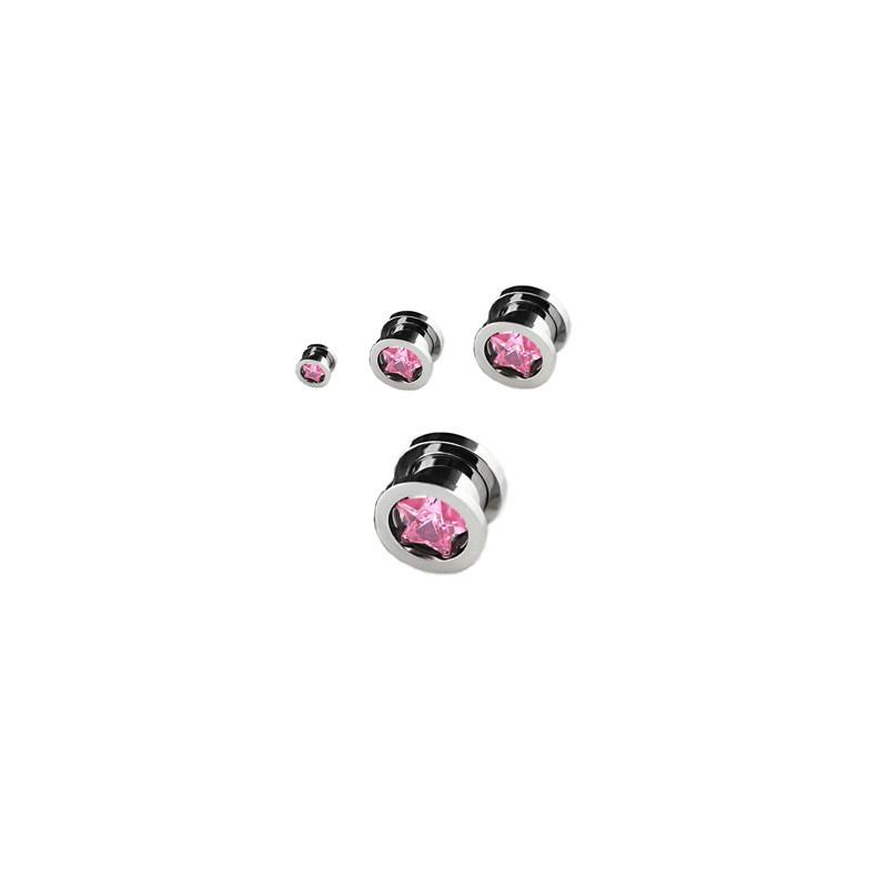 Piercing tunnel étoile zirconium rose 10mm Jys Piercing oreille8,49€