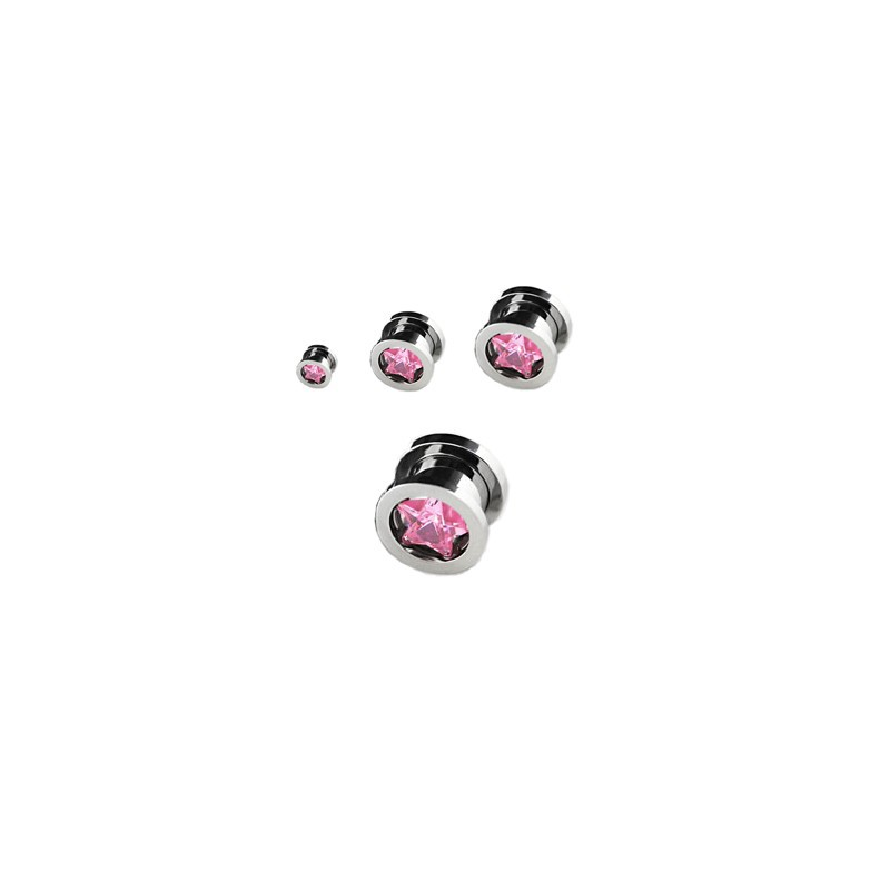 Piercing tunnel étoile zirconium rose 12mm Jys Piercing oreille9,49 €