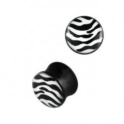 Piercing plug zébré blanc noir 6mm Vya PLU068