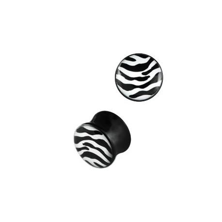 Piercing plug zébré blanc noir 10mm Vyt PLU068