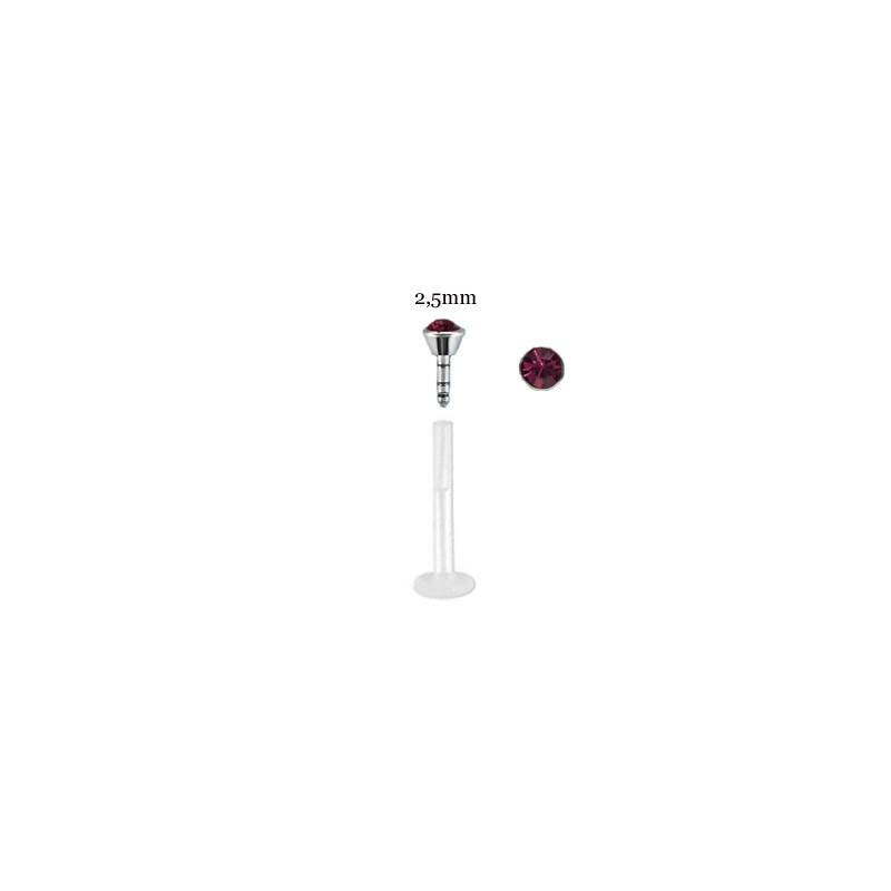 Piercing labret lèvre 6mm cristal améthyste Vasol Piercing labret2,99€