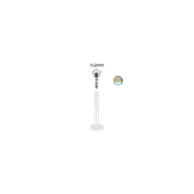Piercing labret lèvre 6mm aurore boréale Dez Piercing labret2,99€