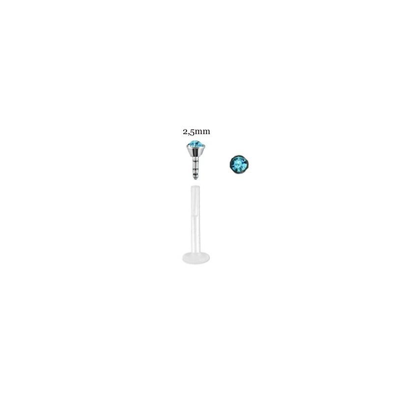Piercing labret lèvre 8mm cristal bleu aqua Nady Piercing labret2,99€