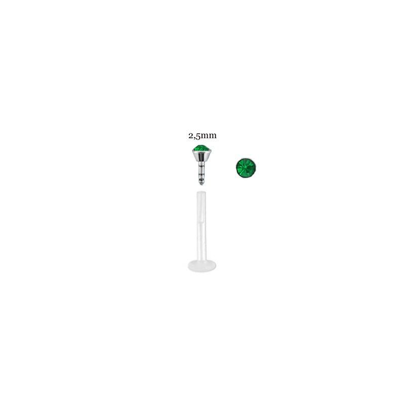 Piercing labret lèvre 10mm vert émeraude Nijux Piercing labret2,99€