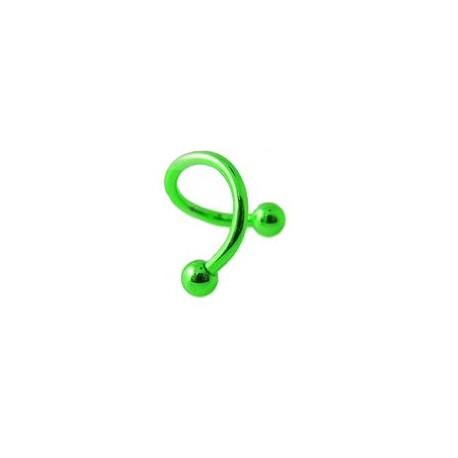 Piercing spirale 8mm vert avec boules 3mm Suw Piercing oreille3,99€