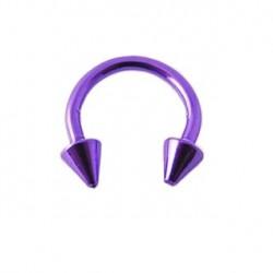 Piercing fer à cheval 8mm violet et pointes Gyt FER039