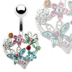 Piercing nombril avec un cœur et fleurs Kuwy Piercing nombril6,99€