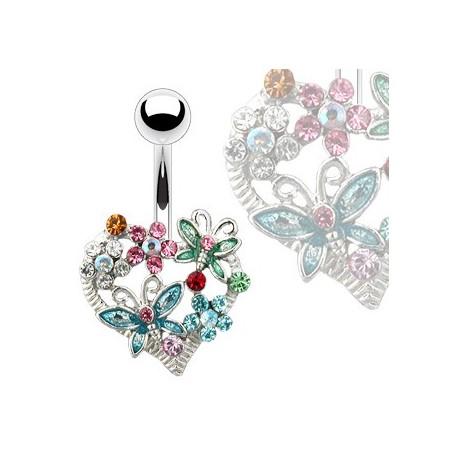 Piercing nombril coeur et fleurs Kuwy NOM204