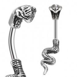 Piercing nombril avec un serpent en acier Azo