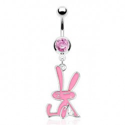 Piercing nombril pendant lapin rose Tuy NOM221