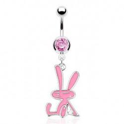 Piercing nombril pendant lapin rose Tuy