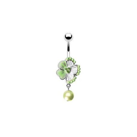 Piercing nombril avec une fleur verte et perle nacrée Fyt Piercing nombril6,80€