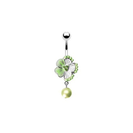 Piercing nombril fleur verte perle nacrée Fyt NOM223