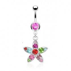 Piercing nombril rose et fleur Aly NOM226