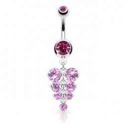 Piercing nombril grappe de raisin rose Kat NOM228