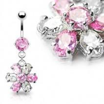 Piercing nombril fleur blanche et rose Daz Piercing nombril12,20€