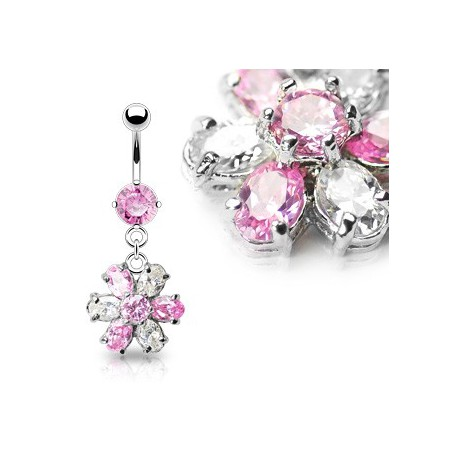 Piercing nombril fleur blanc et rose Daz NOM229