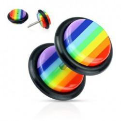 Faux piercing plug gay pride arc en ciel FAU101