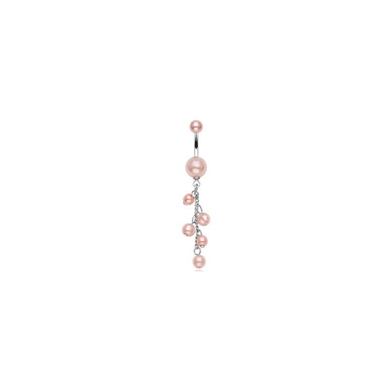 Piercing nombril boules avec perles nacrées rose Jy Piercing nombril4,80€
