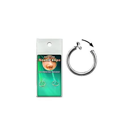 Faux piercing 10mm anneaux septum à clip FAU106