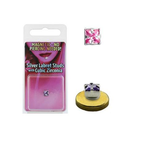 Faux piercing aimanté labret rose Pyel FAU107