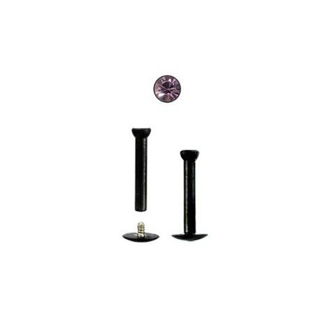 Piercing labret 8mm noir strass améthyste clair Gasuy Piercing labret4,40€