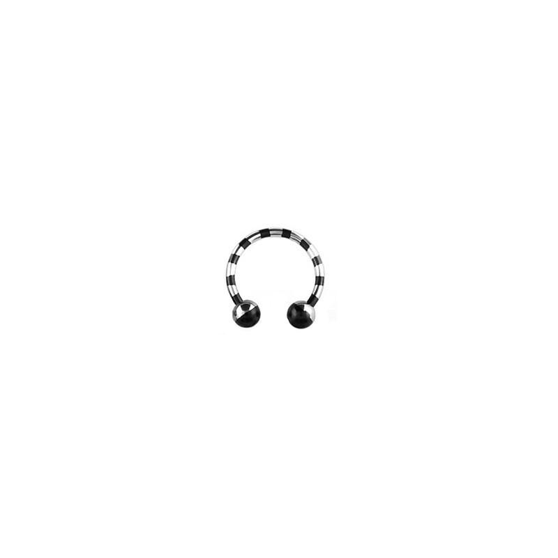 Piercing fer à cheval 14mm zébré noir Fya Piercing oreille6,30€