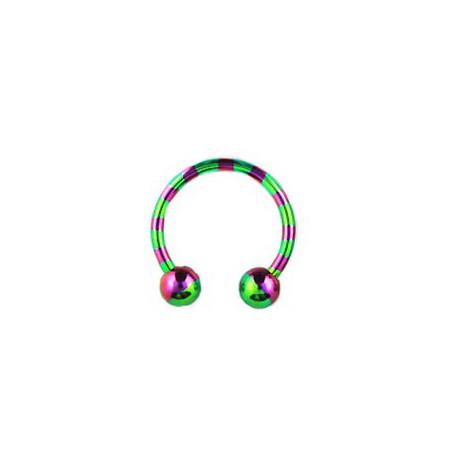Piercing fer à cheval 14mm zébré vert violet FER041