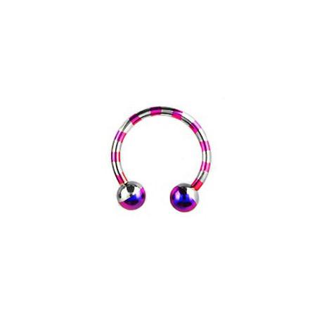 Piercing fer à cheval 14mm zébré gris violet Piercing oreille6,30€