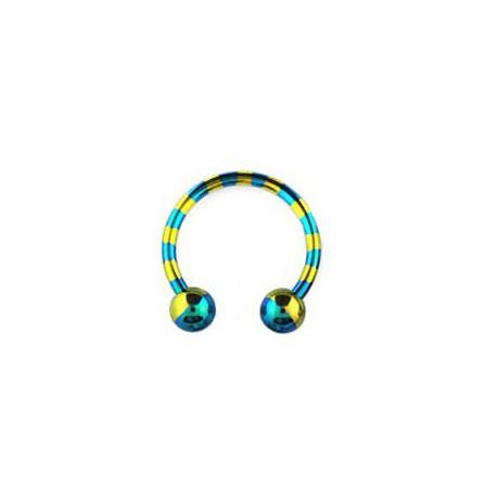 Piercing fer à cheval 14mm zébré bleu doré Piercing oreille6,30€
